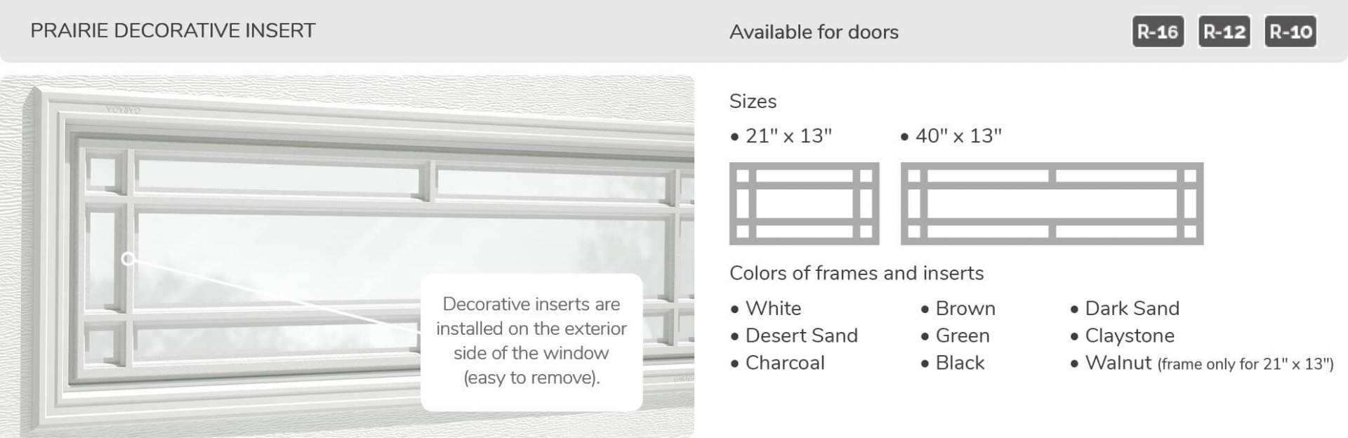 Prairie Decorative Insert, 21' x 13' and 40' x 13', available for doors R-16, R-12 and R-10